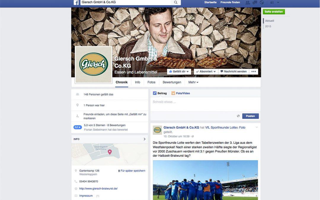 Social Media für Giersch von team4media