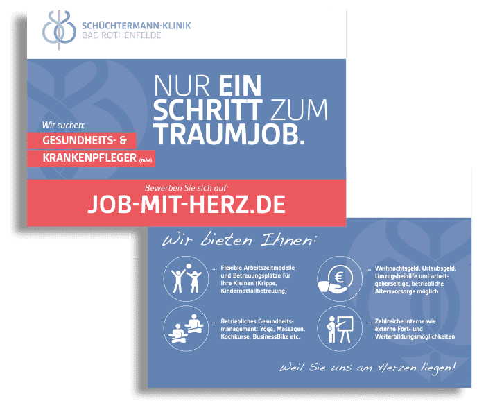 team4media Personalmarketing Schüchtermannklinik Visitenkarten