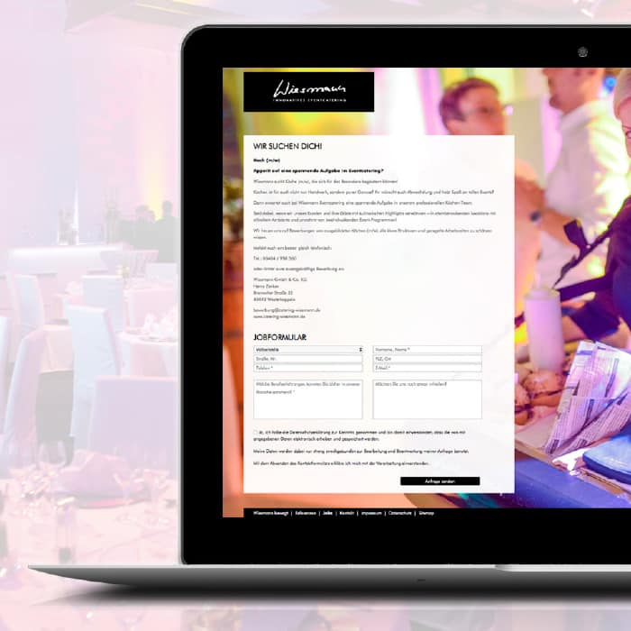 Referenz Teaser Wiesmann Catering Laptop mit Website