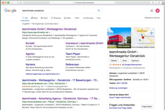 Googlesuche-team4media-screenshot