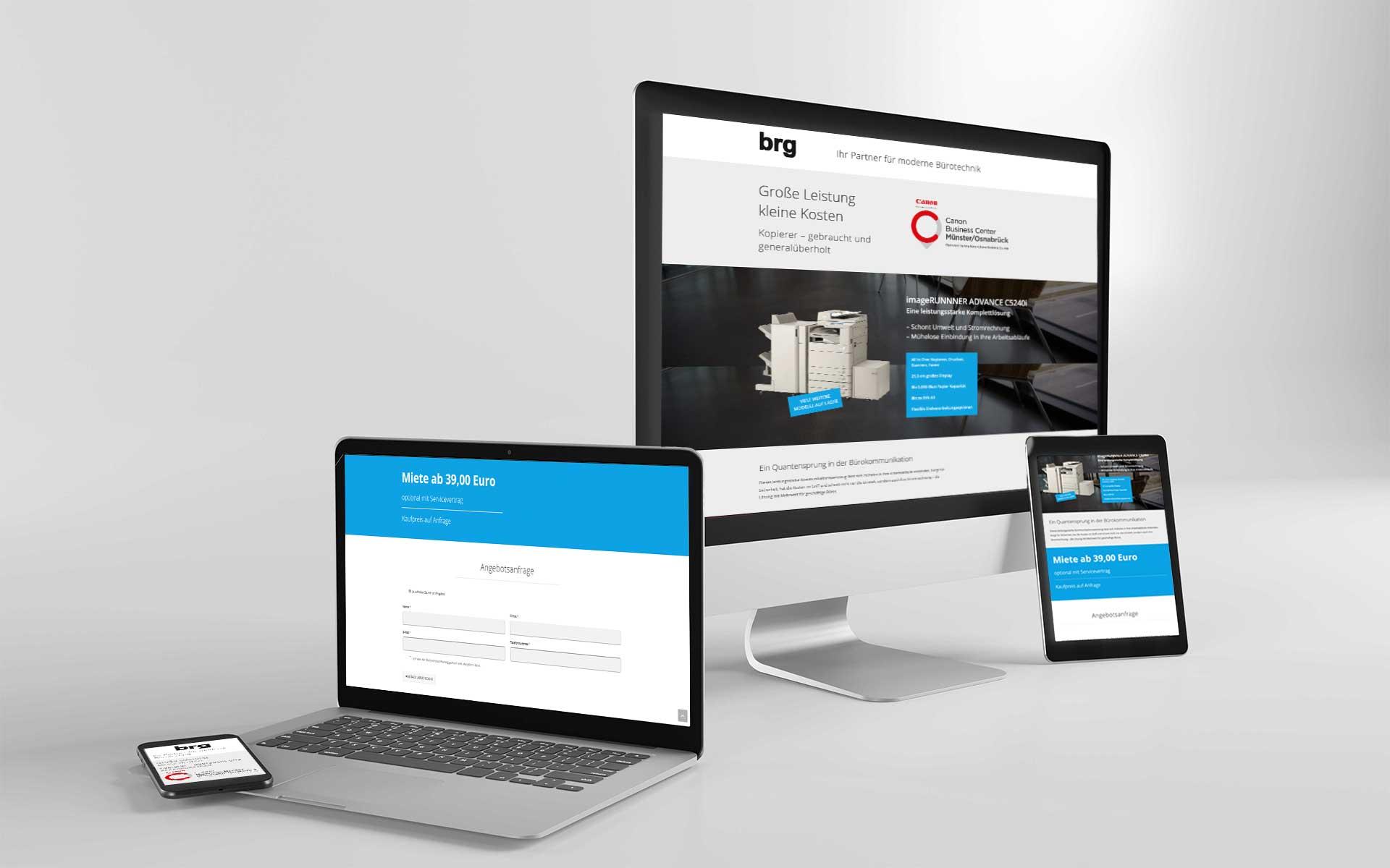 Landingpage und Google Display Werbung für brg
