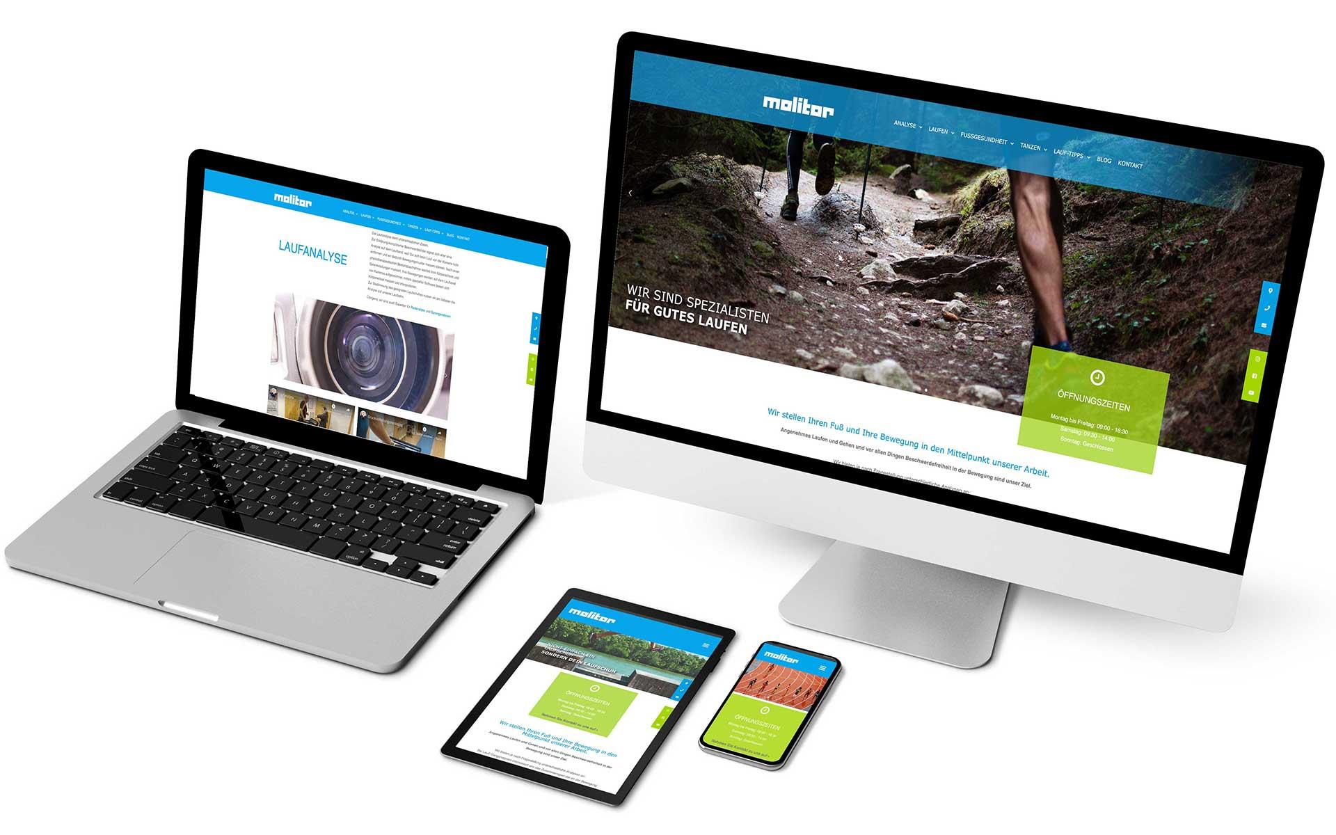 Webseite für Fußgesundheit-Spezialist Molitor gestaltet von team4media - Ihre Werbeagentur in Osnabrück