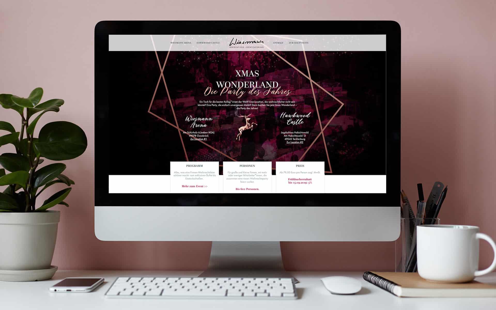 Webseite für die Wiesmann-Arena - Location für Weihnachtsfeiern in und um Osnabrück