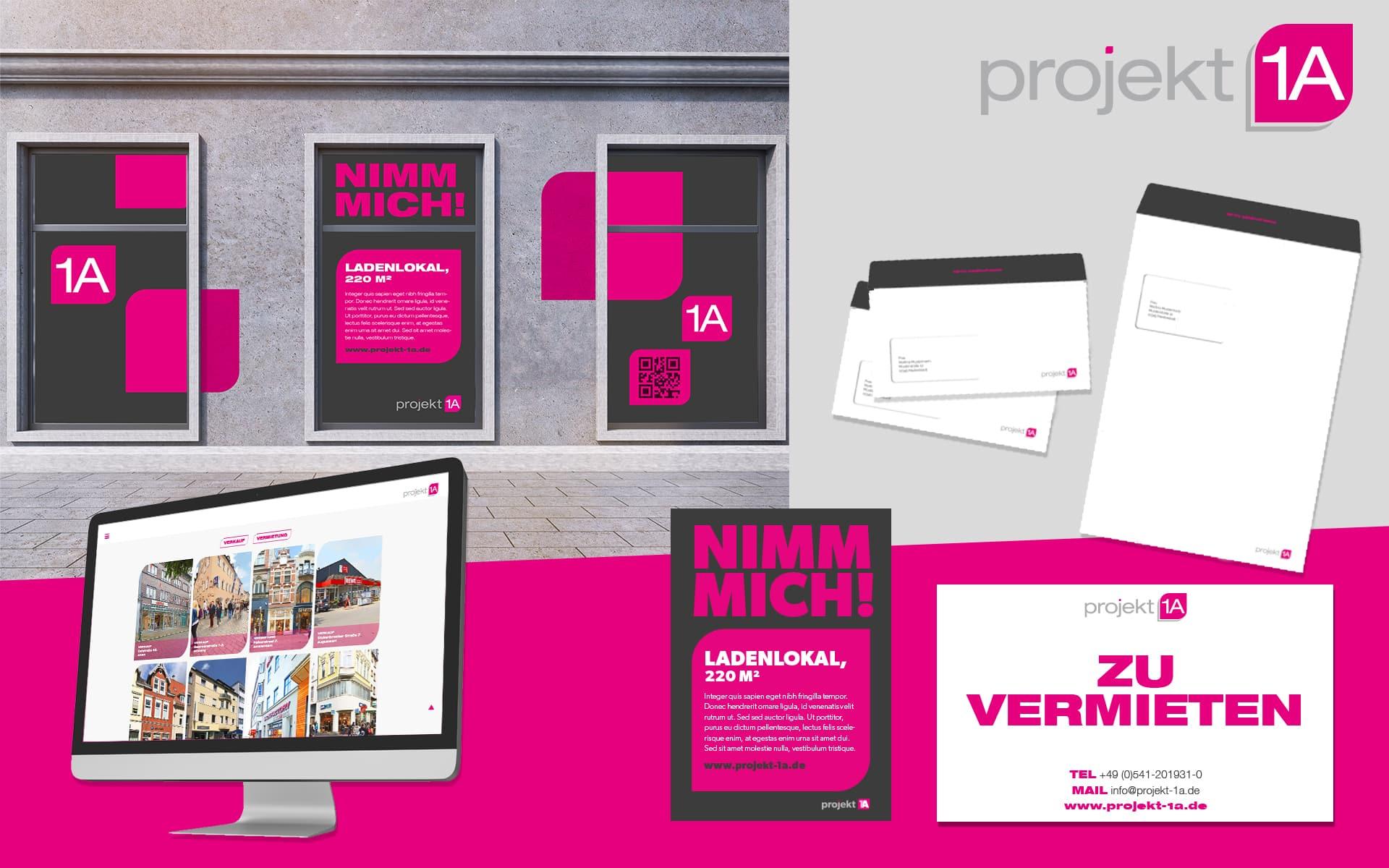 Corporate Design für Projekt 1A von team4media - Ihre Werbeagentur aus Osnabrück