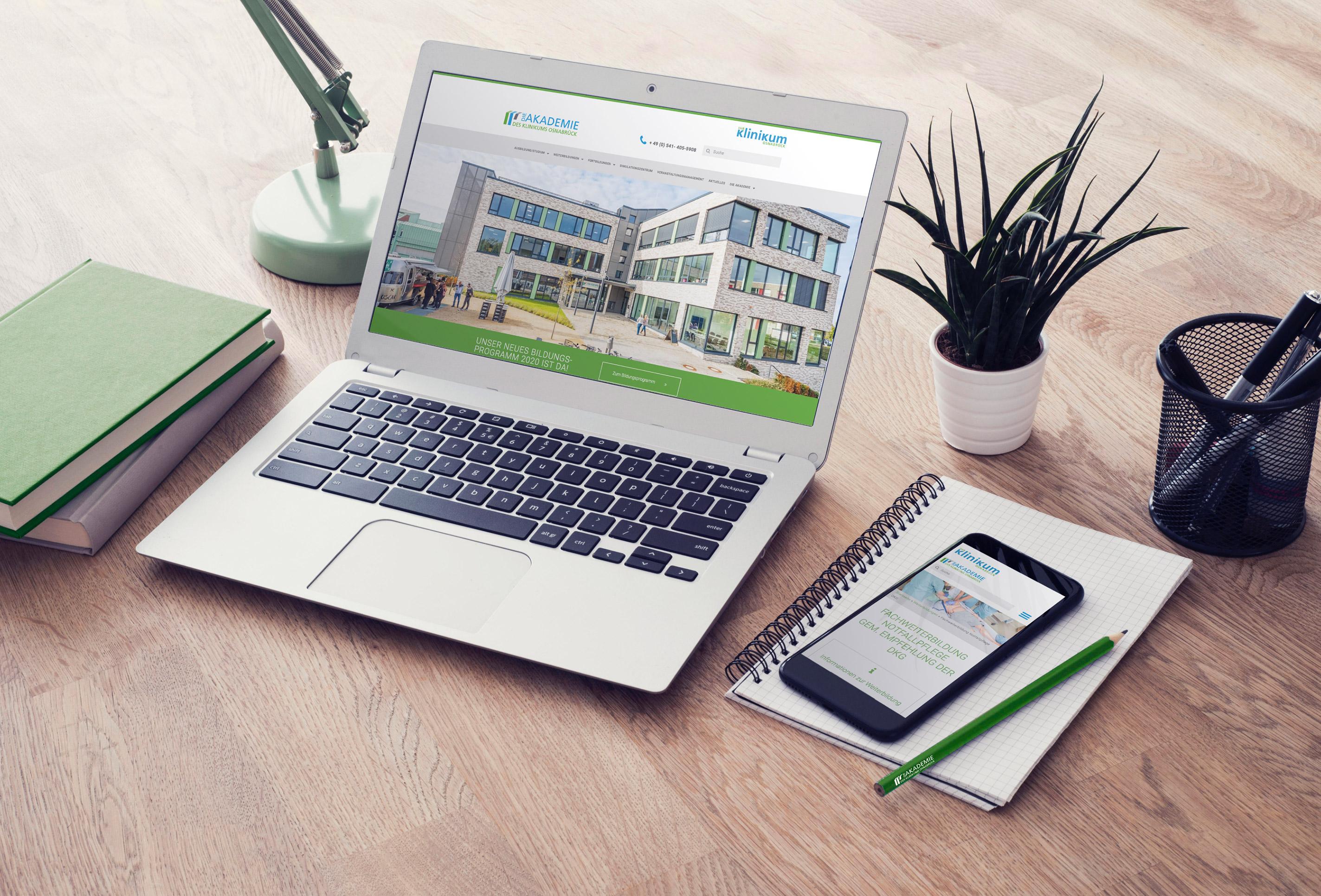 WordPress Webseite für die Akademie des Klinikums