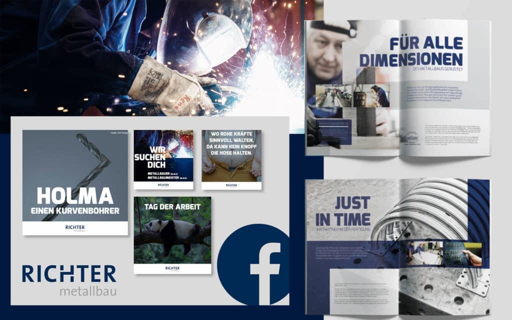 Social Media und Broschüre Richter Metallbau von team4media - Ihre Werbeagentur aus Osnabrück