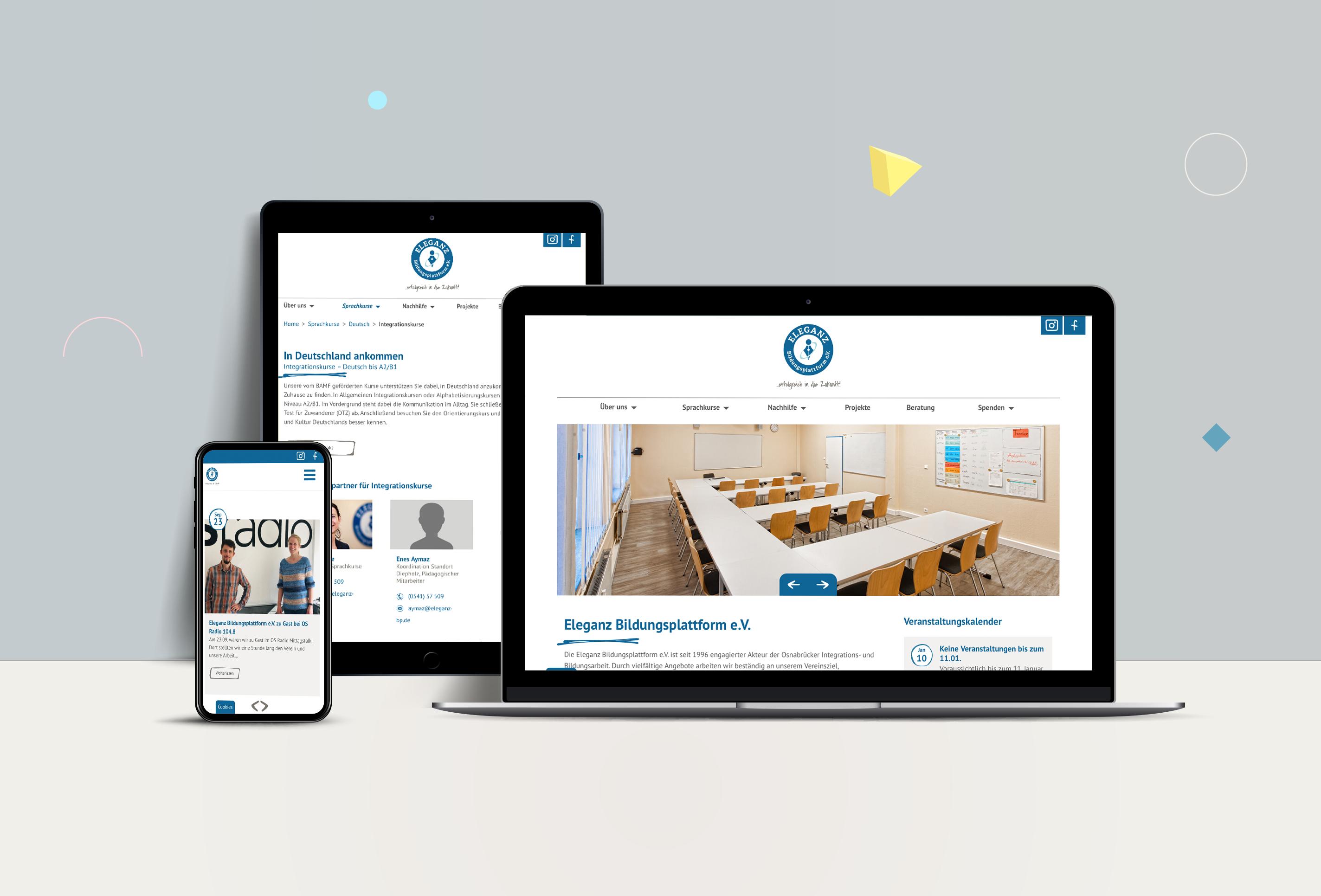 Webdesign für Eleganz Bildungsplattform e.V. von team4media