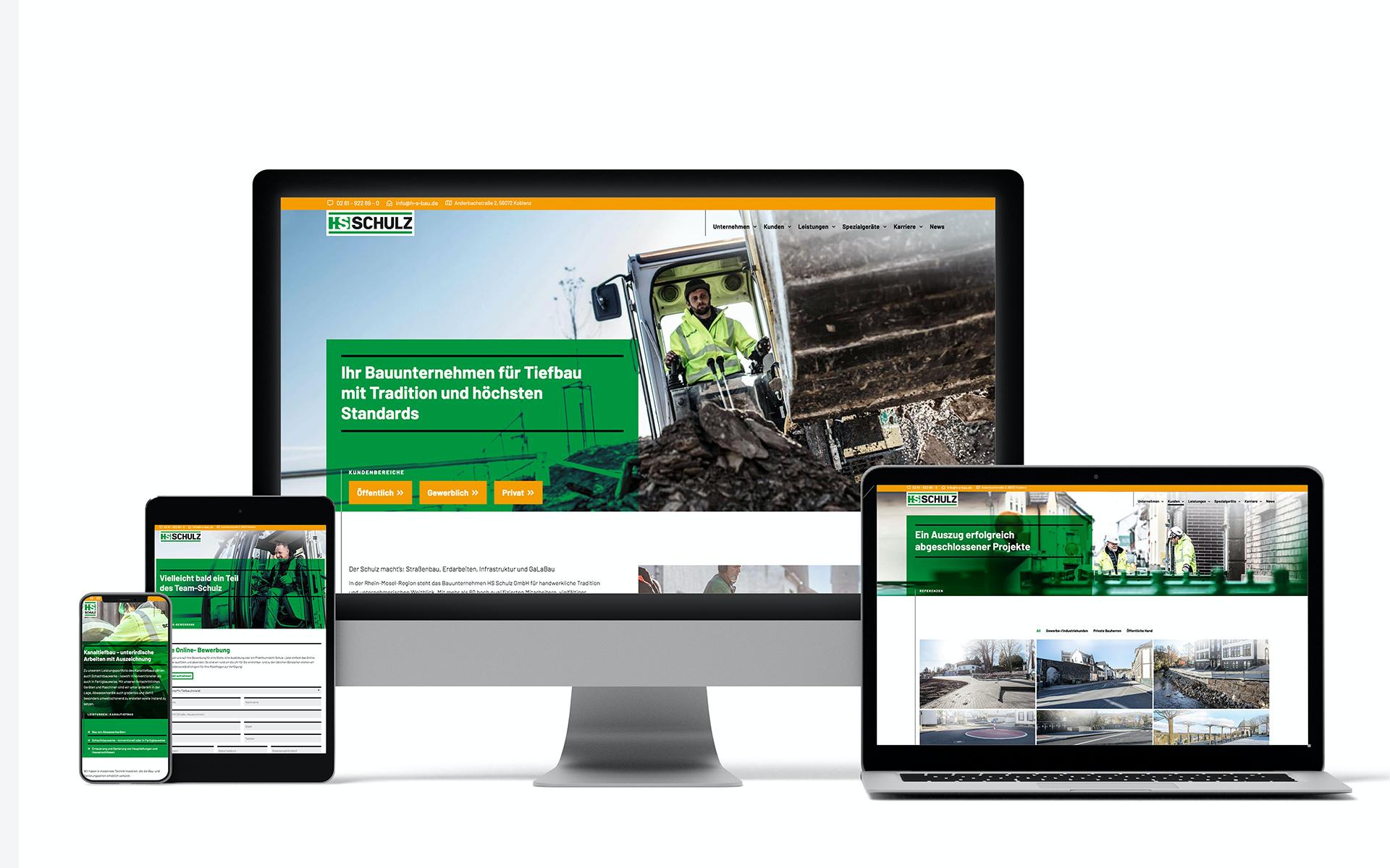 Darstellung des neuen Webdesigns von HS Schulz Bauunternehmen