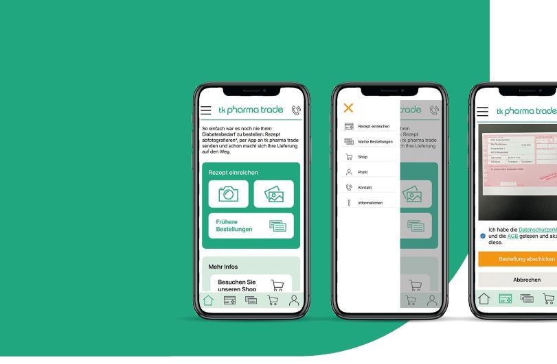 Drei Handybildschirme, die den Onlineshop von tk pharma trade zeigen