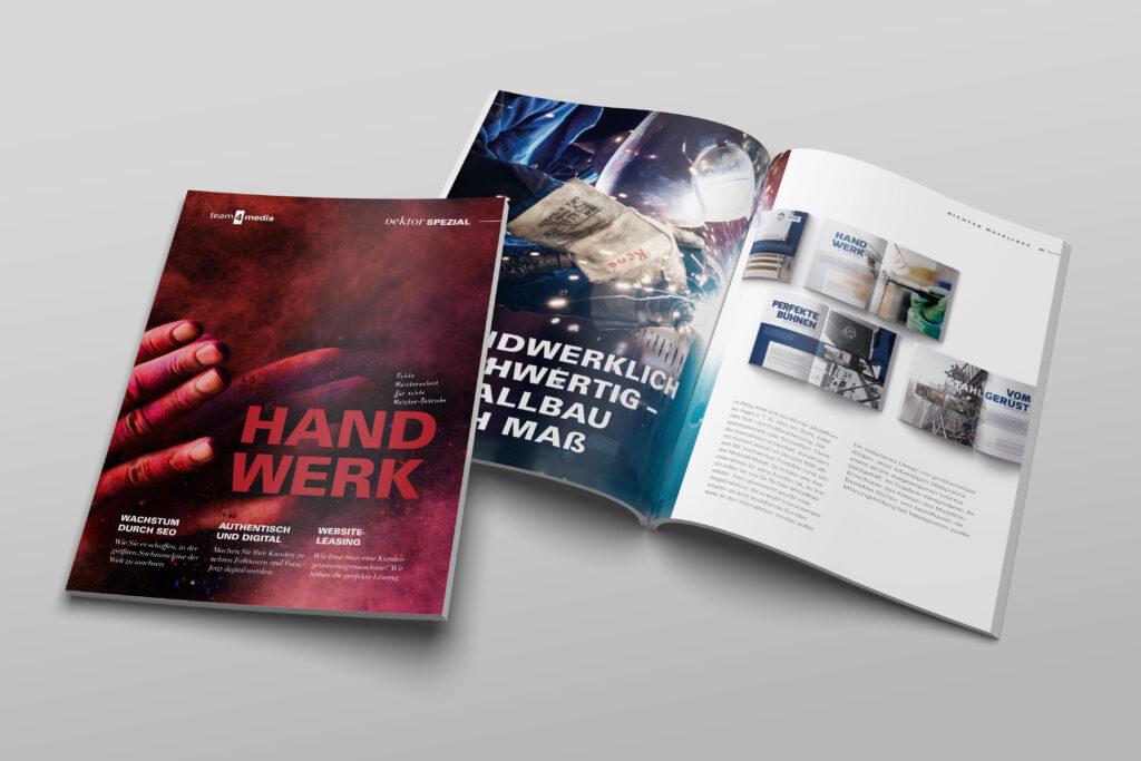 team4media Referenzbroschüre Handwerk Titelseite und aufgeschlagene Seite
